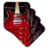 3dRose cst_35380_3 Up-Close Red Guitar-Ceramic Tile Coasters, Set of 4