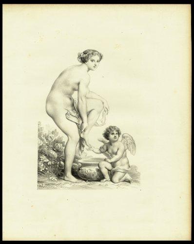 Antique Print-FEMALE-NUDE-STANDING-WASHING FEET-PUTTI-WASH BASIN-1850