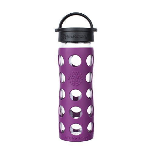 (Lifefactory 16-Ounce BPA-Free Glass Water Bottle with Classic Cap and Silicone Sleeve,)