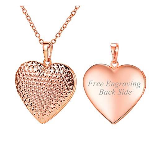 U7 Dot Grain Heart Photo Locket Necklace Women Girls Charm Memorial Jewelry Customized Pendant Engravable
