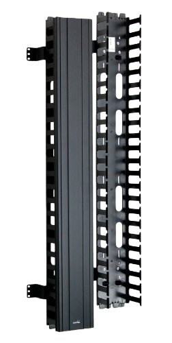 Black Vertical Finger Duct (Leviton 4980L-VFO Vertical Front Only Cable Management, 5-inch Channel by 80-inch Long, Black Snap-On Cover)