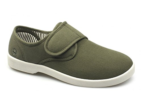 Dr Keller ROB Mens Canvas Wide Touch Fasten Deck Shoes Khaki Khaki