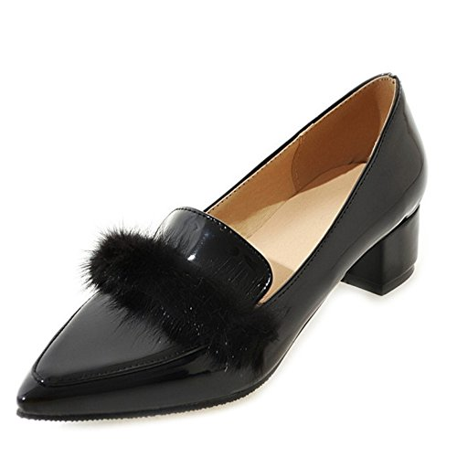 SJJH Low Heel Court Shoes with Detachable Fur and Large Size Fashion Women Court Shoes with 5-Colors Available Black JHUNjg
