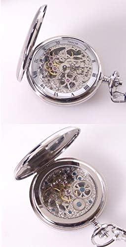 [ティモール] 両面開き 両面スケルトン ポケットウォッチ(懐中時計)TP102CH01 スケルトン ケース手巻き懐中時計