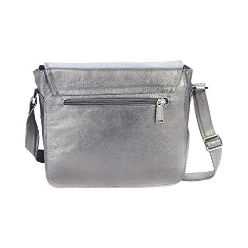 100 from Colombian Leather Silver Gaspy Crossbody Women's Handmade Genuine Percent Bag Violet Leather v7qYwU0