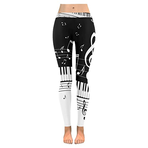 InterestPrint Music Note Piano Custom Stretchy Leggings Skinny Pants For Yoya Running Pilates Gym L (Custom Piano)