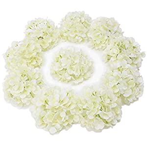 LUSHIDI 10PCS Silk Hydrangea Heads with Stems Artificial Flowers for Wedding Party Home Decor (Off White), One Size Off 8