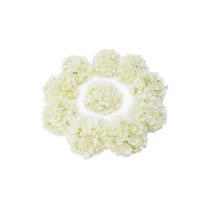 silk flower arrangements lushidi 10pcs silk hydrangea heads with stems artificial flowers for wedding party home decor (off white), one size off