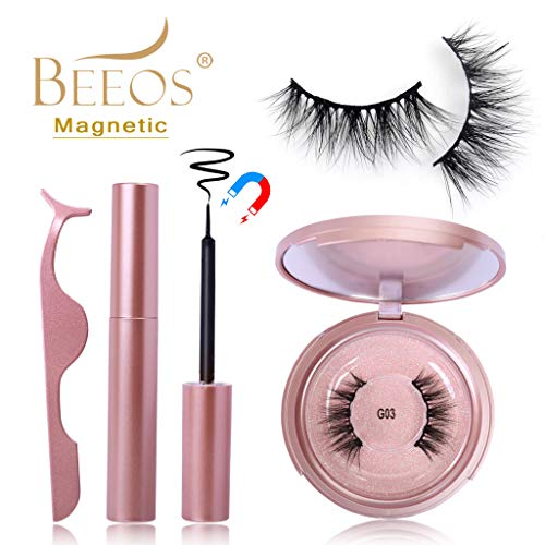 BEEOS 3D Mink Magnetic Eyelashes with Eyeliner Kit, 5 Magnets False Lashes and Liquid Magnetic Eyeliner Sit with Mirror and Tweezers, No Glue Reusable Magnetic Eye Lashes Natural Look (G03)