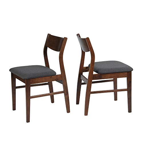 LUCKYERMORE Dining Room Chairs Set of 2 Mid Century Modern Kitchen Restaurant Side Chairs in Dark Grey Fabric and Walnut Finish
