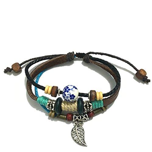 - Jauxin Triple Strand Leaf Leather Zen Beads Bracelet