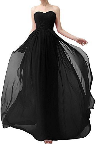 Damen Schwarz Abendkleider mia Gruen Kleider Braut Jugendweihe La Dunkel Lang Chiffon Aermellos Brautjungfernkleider xCOIaCqwf