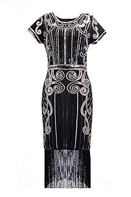 U.mslady Womens 1920s Crystal Sequin Vintage Fringe Cocktail Dress