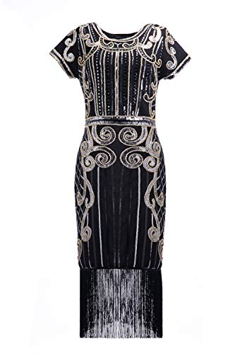 U.mslady Womens 1924s Crystal Sequin Vintage Fringe Cocktail Dress Black Gold 16-18 -