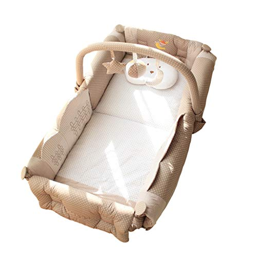 Travel Cots Multifunctional Folding Portable Crib Children's Game Pad Anti-Pressure Cot Sleeping Pod Crawling Mat (Color : Brown, Size : 100x50x20cm) ()