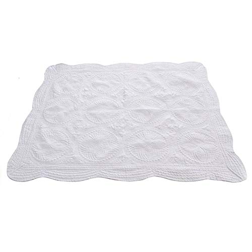 CFP Heirloom White Baby Quilts - Already Washed No Shrinking Baby Quilts, Cotton Embossed Quilted Baby Blanket, 36 × 46, Scallop Trim (White)