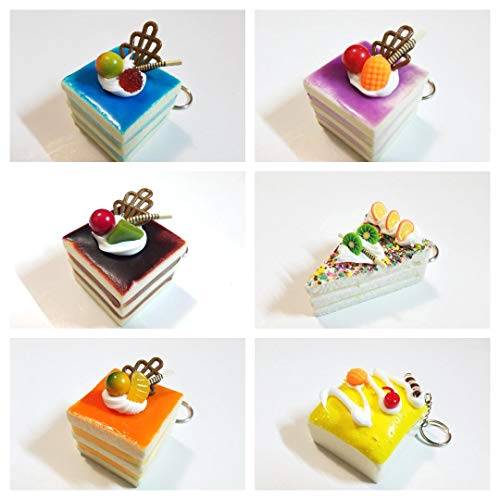 JM Squishies - Box of 15 Piece of Art Kawaii Cute Scented Squishy Charms Soft Cakes Key Chain Rings Straps Decompression Squeeze Toys Collections Decorations