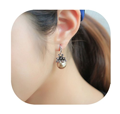 ent Pearl Dangle Earrings Antique Silver Retro Flower Crystal Pearl Drop Hoop Earrings For Women (Pearl Drop Hoop)