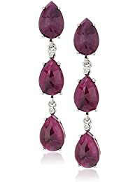 Sterling Silver Opaque Sapphire And Natural White Zircon Dangle Earrings