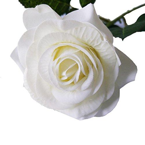 YJYDADA 1PCS Artificial Rose Fake Silk Flower Leaf Bridal Home Wedding Party Decor (E)