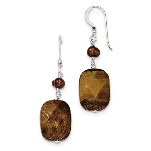 Mia Diamonds 925 Sterling Silver Tiger's Eye and Golden Fw Cultured Pearl Earrings (45mm x (Clip Tigers Eye Earrings)