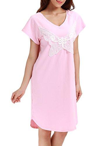 Yulee Women's Cotton Sleep T Shirt Nightshirt Knit Jersey Summer Sleepwear - Knit Butterfly Gown