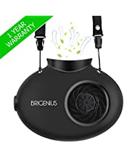 BRIGENIUS Battery Operated Necklace Fan, Mini Portable USB Rechargeable Fan for Personal Cooling, Kids, Gift, Camping, Outdoor Event, Travel, Concerts, Church, Hot Flash (New Version, Black)