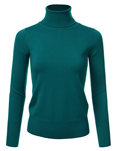 NINEXIS Womens Long Sleeve Turtle Neck Sweater DarkGreen S Ribbed Woven Sweater