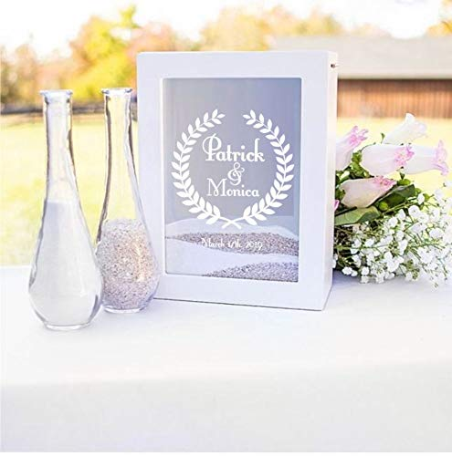 Table Decoration Concepts Cathys (Cathy's Concepts Unity Sand Ceremony Shadow Box Set, Wedding Table Decoration, Free Engraving (Wreath 2))