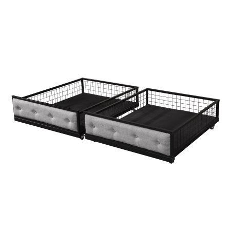 Metal Underbed Drawer (Home Source Eddie Set of 2 Underbed Rolling Tufted Wire Drawers, Grey fabric and Black metal)