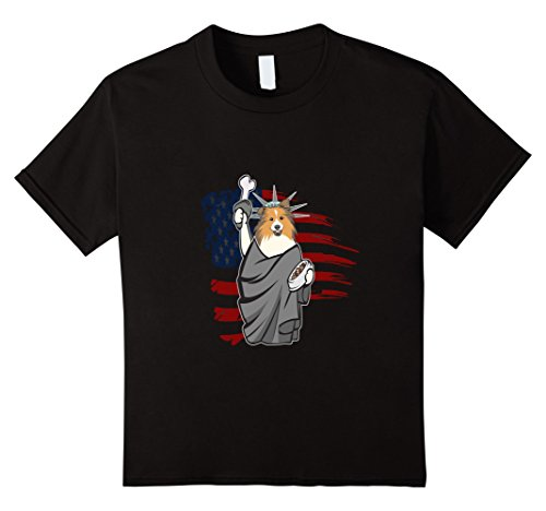 unisex-child Sheltie Independence Day shirt - 4th of July...