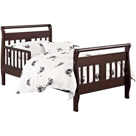 Toddler Bed (Your Choice in Finish), Home Furniture, Kid's Daybed Made of Solid Hardwood Construction, Sleigh-Style Design, 2 Side Rails, Bedroom, Baby Toddler, BONUS e-book (Espresso) by Best Care LLC