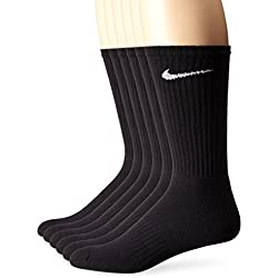NIKE Performance Cushion Crew Socks With Band (6 Pairs), Black/White, Large