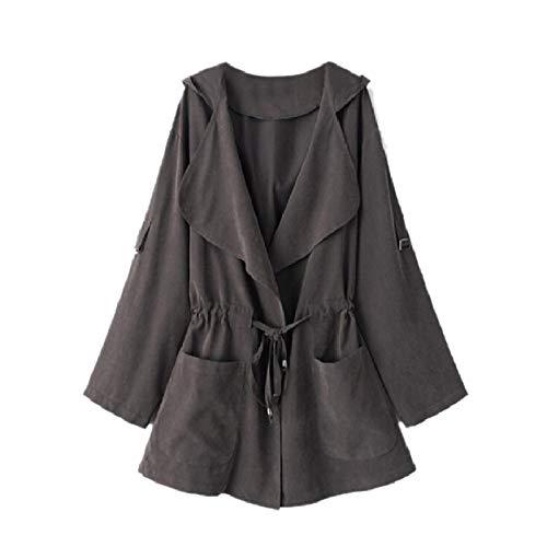 Howme-Women Anorak Outdoor Back Cotton Lapel Neck Overcoat Trenchcoat Grey