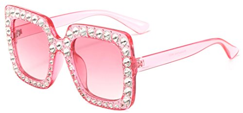(MAOLEN Square Oversized Crystal Women Sunglasses Gradient Shades (square pink-pink))