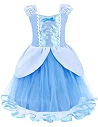 Princess Cinderella Costume for Girl Halloween Cosplay Party Fancy Dress up (Blue)