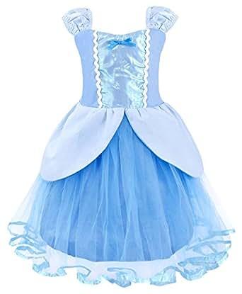 AmzBarley Vestido Niña Princesa Ceremonia Tutu Tul,Blancanieves Disfraz Rapunzel Infantil Traje Princesa Elsa Frozen Niña Bella,Girls Princess Fancy Dress Fiesta Ceremonia Cosplay Azul 1-2 Años 90