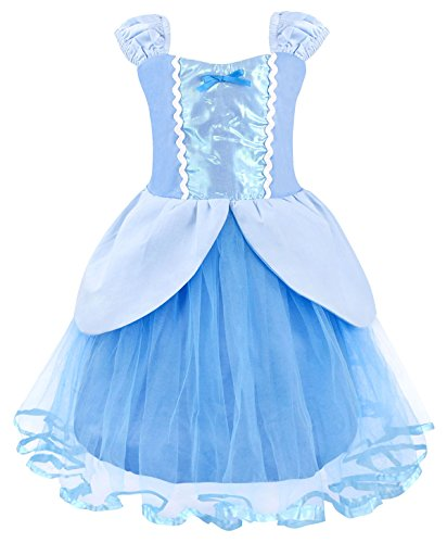 Cotrio Cinderella Princess Dress Up Girls Halloween Costumes Cosplay Outfits Birthday Party Fancy Dresses Tulle Tutu Skirt Size 18M (12-18 Months, Blue, 90)]()