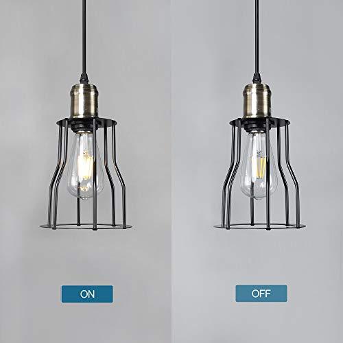 MantoLite Retro Pendant Light Fixtures Vintage Hanging Lighting Industrial Flush Mount Ceiling Lamp Geometric Cage Pendant Lantern Painting Metal E26 Socket for Hallway Kitchen Farmhouse (Black, V)