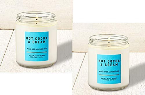 Bath and Body Works 2 Pack Hot Cocoa and Cream Single Wick Candle. 7 oz. by Bath & Body Works