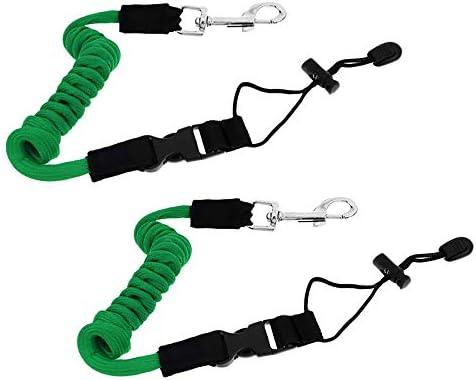 N/Y 伸縮可能なカヤックパドルリーシュテザー 調節可能なカヤック安全ロッドリーシュ コイル状ロッドリーシュツール ランヤード カヤックとSUPパドル 釣り竿 グリーン 2個