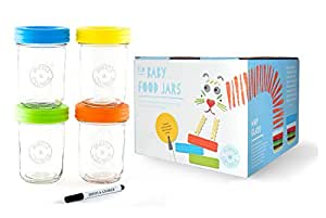 Glass Baby Food Storage Containers - Set contains 4 Small Reusable 8oz Jars with Airtight Lids - Safely Freeze your Homemade Baby Food