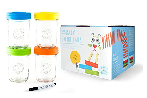 Glass Baby Food Storage Containers - Set contains 4 Small Reusable 8oz Jars with Airtight Lids - Safely Freeze your Homemade Baby Food ()