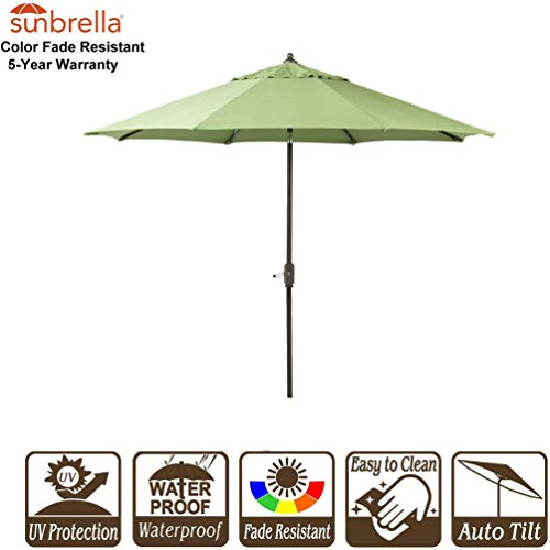 - Bayside21 Sunbrella 9Ft Market Umbrella Patio Outdoor Table Umbrella 9' Outdoor Patio Umbrella with Crank and Auto Tilt Sunbrella Canvas Turf (9', Sunbrella Turf)