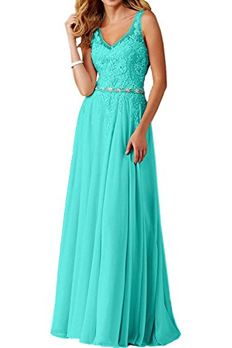 (Faironline Women's V Neck Appliques Prom Dress Long Beaded Evening Party Gowns Size 24 Tiffany Blue)