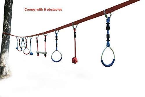 (Whistler Kids Obstacle Course Set - 40 Foot Portable Slackline 9 Obstacles)