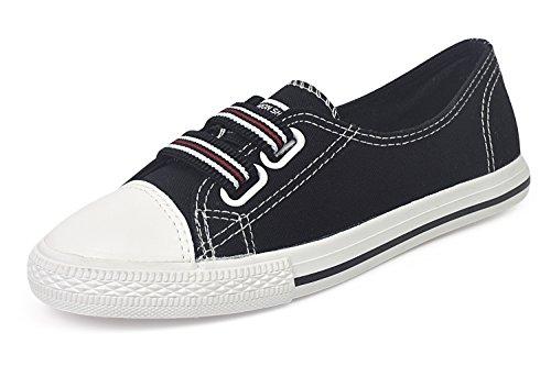 Royal Victory Mujer Canvas Slip-on Sneaker Zapatos Planos Caminando 318-negro