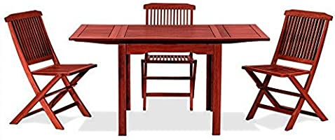 Mesa cuadrada extensible, de madera natural 80 x 80 x 77 cm, mod. Palma, mesa de jardín de Keruing hecha artesanalmente, mesa de madera dura para uso exterior, extensible: Amazon.es: Jardín