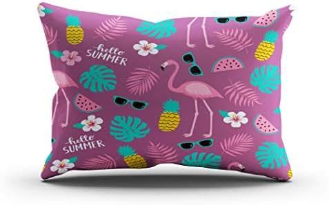 Sgvsdg Throw Pillow Cover Summer Seamless Cute Colorful Pattern Flamingo Rectangle Hidden Zipper Home Sofa Living Room Cushion Decorative Pillowcase 20 x 30 Inch