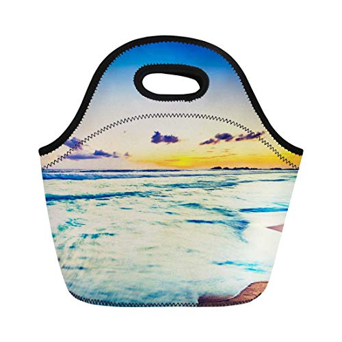 Virsa Neoprene Lunch Tote Bag Amazing Sunset Over the Sea Beautiful Landscape Sri Lanka Reusable Cooler Bags Insulated Thermal Picnic Handbag for Travel,School,Outdoors, Work